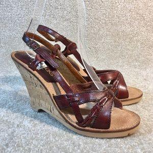 Vintage 1980s UNWORN Cork Wedge Sandals sz 7 Wow!